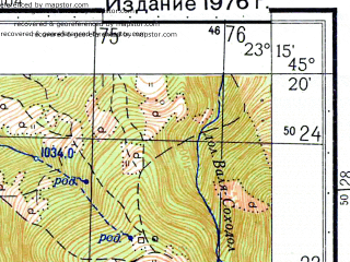Reduced fragment of topographic map ru--gs--050k--l34-107-1--N045-20_E023-00--N045-10_E023-15