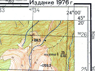 Reduced fragment of topographic map ru--gs--050k--l34-108-2--N045-20_E023-45--N045-10_E024-00