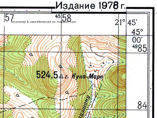 Reduced fragment of topographic map ru--gs--050k--l34-116-1--N045-00_E021-30--N044-50_E021-45; towns and cities Carbunari