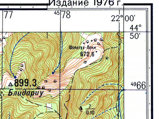 Reduced fragment of topographic map ru--gs--050k--l34-116-4--N044-50_E021-45--N044-40_E022-00; towns and cities Sichevita
