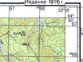 Reduced fragment of topographic map ru--gs--050k--l34-117-3--N044-50_E022-00--N044-40_E022-15