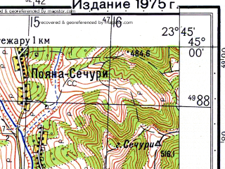Reduced fragment of topographic map ru--gs--050k--l34-120-1--N045-00_E023-30--N044-50_E023-45; towns and cities Tirgu-carbunesti