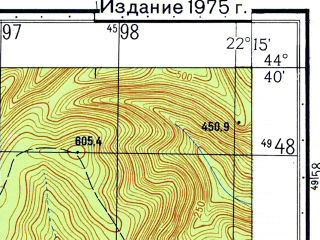 Reduced fragment of topographic map ru--gs--050k--l34-129-1--N044-40_E022-00--N044-30_E022-15