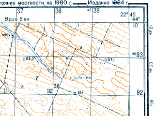 Reduced fragment of topographic map ru--gs--050k--l34-142-3--N044-10_E022-30--N044-00_E022-45; towns and cities Bregovo