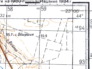 Reduced fragment of topographic map ru--gs--050k--l34-142-4--N044-10_E022-45--N044-00_E023-00; towns and cities Gumzovo Gradets