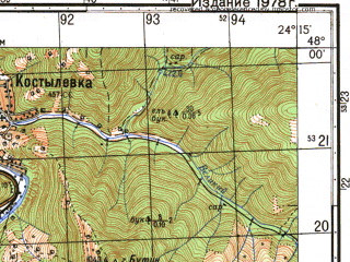 Reduced fragment of topographic map ru--gs--050k--l35-001-1--N048-00_E024-00--N047-50_E024-15; towns and cities Velikiy Bychkov, Delovoye, Lug
