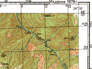 Reduced fragment of topographic map ru--gs--050k--l35-001-2--N048-00_E024-15--N047-50_E024-30