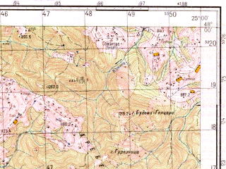 Reduced fragment of topographic map ru--gs--050k--l35-002-2--(1973)--N048-00_E024-45--N047-50_E025-00; towns and cities Grinyava