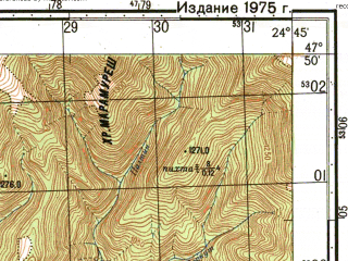 Reduced fragment of topographic map ru--gs--050k--l35-002-3--N047-50_E024-30--N047-40_E024-45