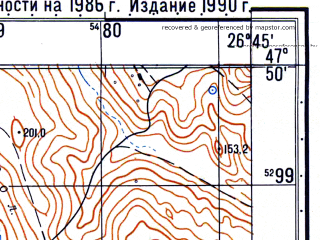 Reduced fragment of topographic map ru--gs--050k--l35-006-3--N047-50_E026-30--N047-40_E026-45; towns and cities Botosani
