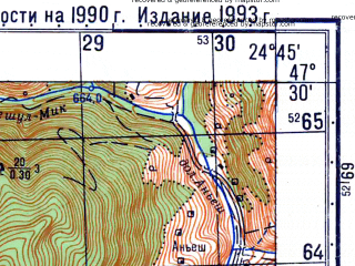 Reduced fragment of topographic map ru--gs--050k--l35-014-3--N047-30_E024-30--N047-20_E024-45