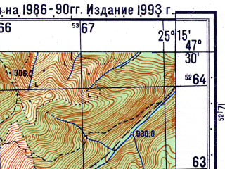 Reduced fragment of topographic map ru--gs--050k--l35-015-3--N047-30_E025-00--N047-20_E025-15