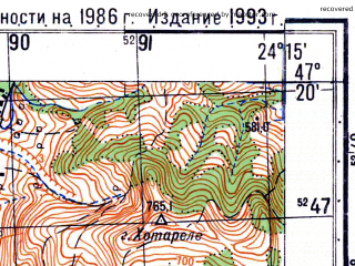 Reduced fragment of topographic map ru--gs--050k--l35-025-1--N047-20_E024-00--N047-10_E024-15; towns and cities Beclean