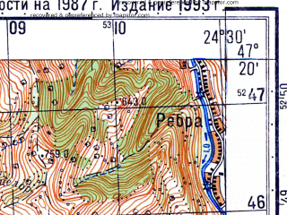 Reduced fragment of topographic map ru--gs--050k--l35-025-2--N047-20_E024-15--N047-10_E024-30; towns and cities Nasaud, Salva