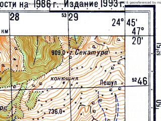 Reduced fragment of topographic map ru--gs--050k--l35-026-1--N047-20_E024-30--N047-10_E024-45