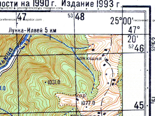 Reduced fragment of topographic map ru--gs--050k--l35-026-2--N047-20_E024-45--N047-10_E025-00; towns and cities Tiho Birgaului