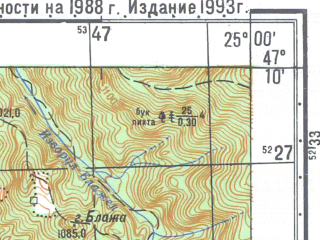 Reduced fragment of topographic map ru--gs--050k--l35-026-4--N047-10_E024-45--N047-00_E025-00