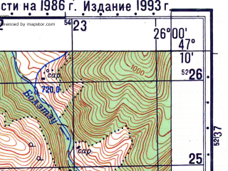 Reduced fragment of topographic map ru--gs--050k--l35-028-4--N047-10_E025-45--N047-00_E026-00