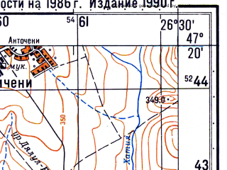 Reduced fragment of topographic map ru--gs--050k--l35-029-2--N047-20_E026-15--N047-10_E026-30; towns and cities Tirgu Neamt