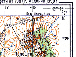 Reduced fragment of topographic map ru--gs--050k--l35-031-3--N047-10_E027-00--N047-00_E027-15; towns and cities Oteleni