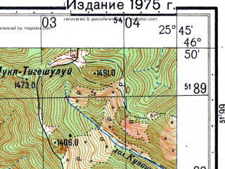 Reduced fragment of topographic map ru--gs--050k--l35-040-3--N046-50_E025-30--N046-40_E025-45; towns and cities Gheorgheni, Joseni