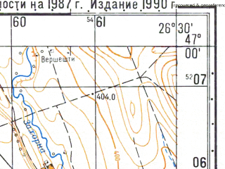 Reduced fragment of topographic map ru--gs--050k--l35-041-2--N047-00_E026-15--N046-50_E026-30; towns and cities Piatra Neamt
