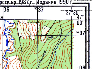 Reduced fragment of topographic map ru--gs--050k--l35-043-2--N047-00_E027-15--N046-50_E027-30; towns and cities Dumestii Noi