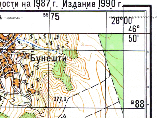 Reduced fragment of topographic map ru--gs--050k--l35-044-4--N046-50_E027-45--N046-40_E028-00; towns and cities Tanacu
