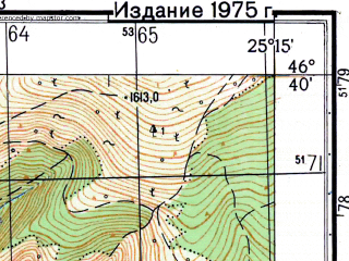 Reduced fragment of topographic map ru--gs--050k--l35-051-1--N046-40_E025-00--N046-30_E025-15; towns and cities Sovata