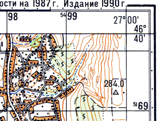 Reduced fragment of topographic map ru--gs--050k--l35-054-2--N046-40_E026-45--N046-30_E027-00; towns and cities Bacau