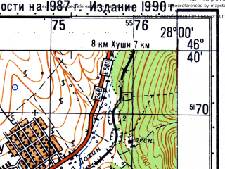 Reduced fragment of topographic map ru--gs--050k--l35-056-2--N046-40_E027-45--N046-30_E028-00; towns and cities Costesti