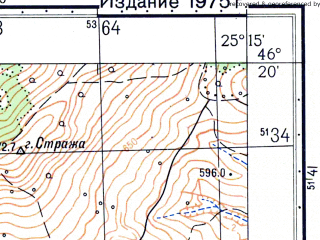 Reduced fragment of topographic map ru--gs--050k--l35-063-1--N046-20_E025-00--N046-10_E025-15; towns and cities Dirjui