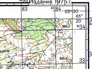 Reduced fragment of topographic map ru--gs--050k--l35-063-2--N046-20_E025-15--N046-10_E025-30; towns and cities Odorhei