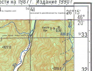 Reduced fragment of topographic map ru--gs--050k--l35-065-1--N046-20_E026-00--N046-10_E026-15