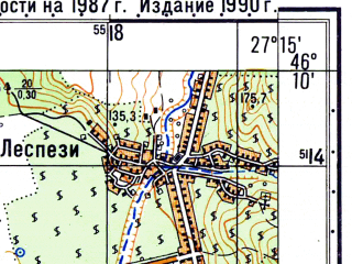 Reduced fragment of topographic map ru--gs--050k--l35-067-3--N046-10_E027-00--N046-00_E027-15; towns and cities Adjud, Paunesti