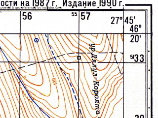 Reduced fragment of topographic map ru--gs--050k--l35-068-1--N046-20_E027-30--N046-10_E027-45; towns and cities Birlad, Perieni, Zoreni