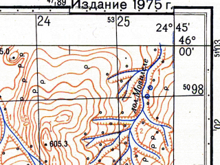 Reduced fragment of topographic map ru--gs--050k--l35-074-1--N046-00_E024-30--N045-50_E024-45