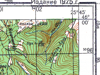 Reduced fragment of topographic map ru--gs--050k--l35-076-1--N046-00_E025-30--N045-50_E025-45; towns and cities Apata