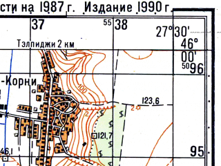 Reduced fragment of topographic map ru--gs--050k--l35-079-2--N046-00_E027-15--N045-50_E027-30; towns and cities Tecuci