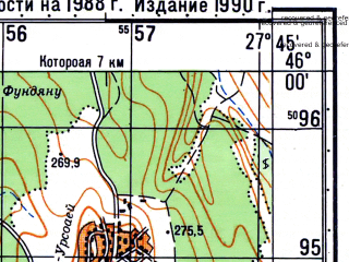 Reduced fragment of topographic map ru--gs--050k--l35-080-1--N046-00_E027-30--N045-50_E027-45; towns and cities Corod, Matca