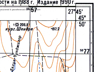 Reduced fragment of topographic map ru--gs--050k--l35-080-3--N045-50_E027-30--N045-40_E027-45; towns and cities Cudalbi