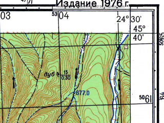 Reduced fragment of topographic map ru--gs--050k--l35-085-2--N045-40_E024-15--N045-30_E024-30