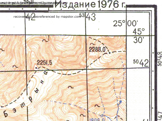 Reduced fragment of topographic map ru--gs--050k--l35-086-4--N045-30_E024-45--N045-20_E025-00