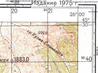 Reduced fragment of topographic map ru--gs--050k--l35-088-4--N045-30_E025-45--N045-20_E026-00; towns and cities Maneciu