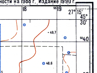 Reduced fragment of topographic map ru--gs--050k--l35-091-3--N045-30_E027-00--N045-20_E027-15; towns and cities Rimnicu Sarat