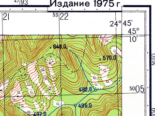 Reduced fragment of topographic map ru--gs--050k--l35-098-3--N045-10_E024-30--N045-00_E024-45