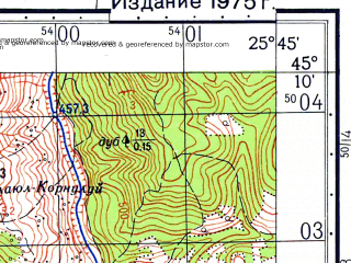 Reduced fragment of topographic map ru--gs--050k--l35-100-3--N045-10_E025-30--N045-00_E025-45