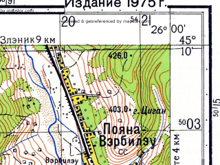 Reduced fragment of topographic map ru--gs--050k--l35-100-4--N045-10_E025-45--N045-00_E026-00; towns and cities Cimpina, Baicoi