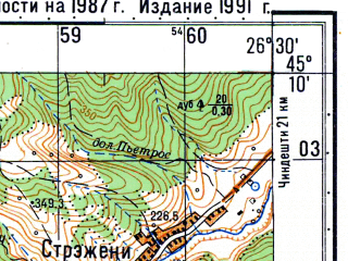 Reduced fragment of topographic map ru--gs--050k--l35-101-4--N045-10_E026-15--N045-00_E026-30; towns and cities Calugareni