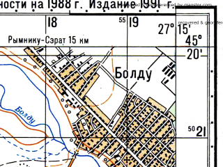 Reduced fragment of topographic map ru--gs--050k--l35-103-1--N045-20_E027-00--N045-10_E027-15; towns and cities Jirlau